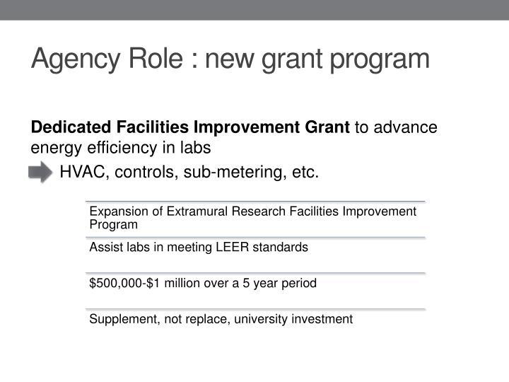 Agency Role : new grant program