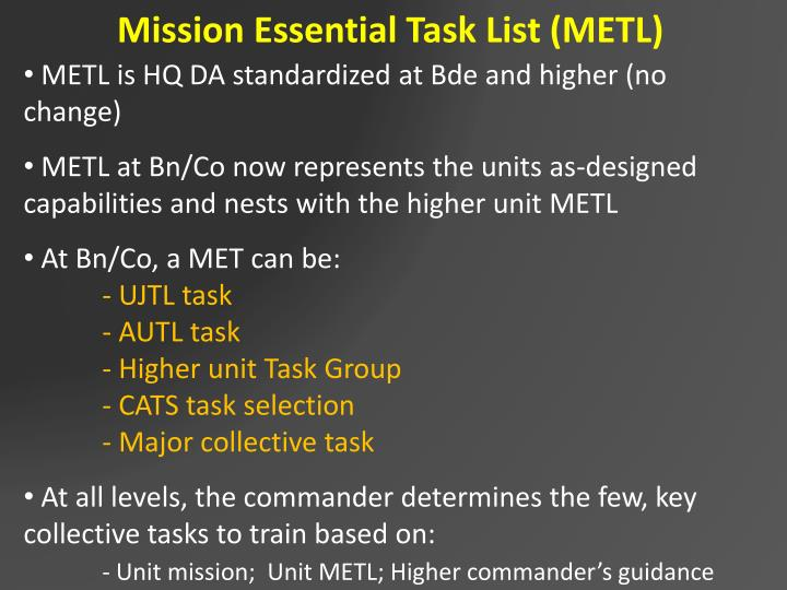 Mission Essential Task List (METL)