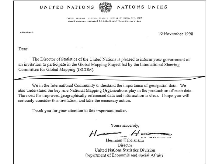 Letter from UNSD