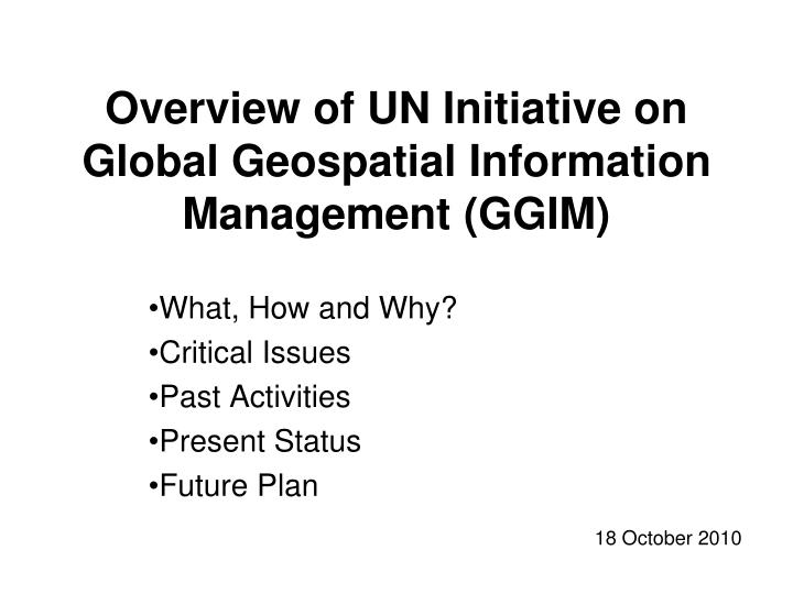 Overview of UN Initiative on