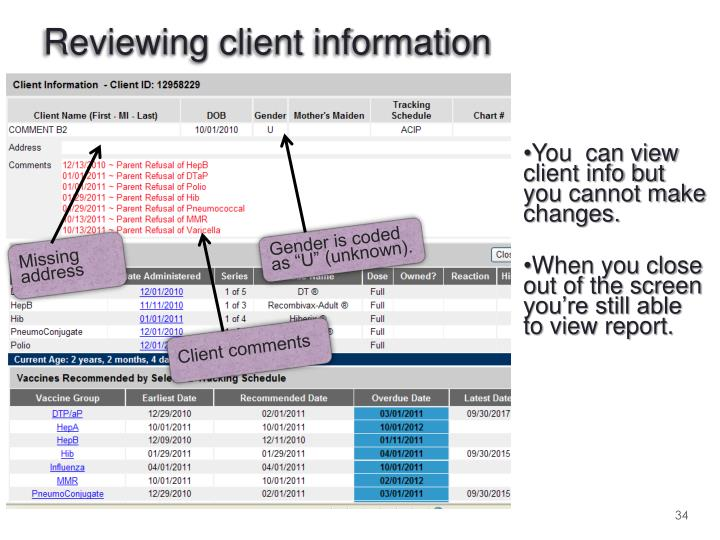 Reviewing client information