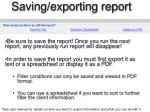 saving exporting report