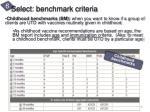 select benchmark criteria1