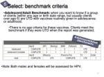 select benchmark criteria2