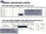 select benchmark criteria4