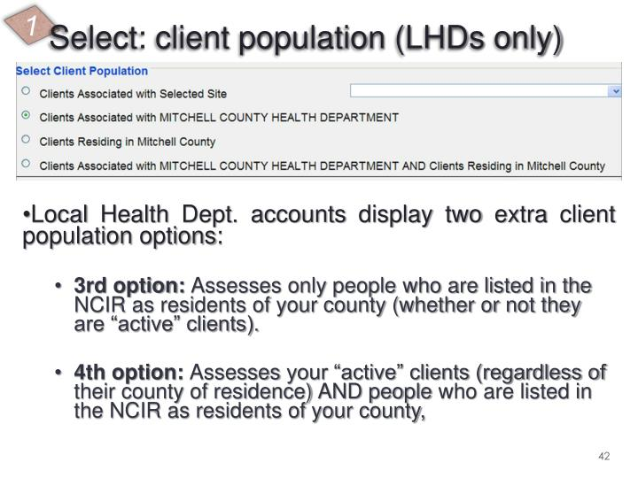 Select: client population (LHDs only)
