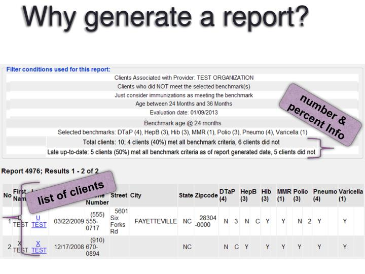 Why generate a report?