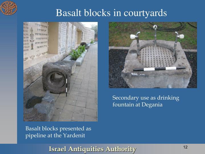 Basalt blocks in courtyards