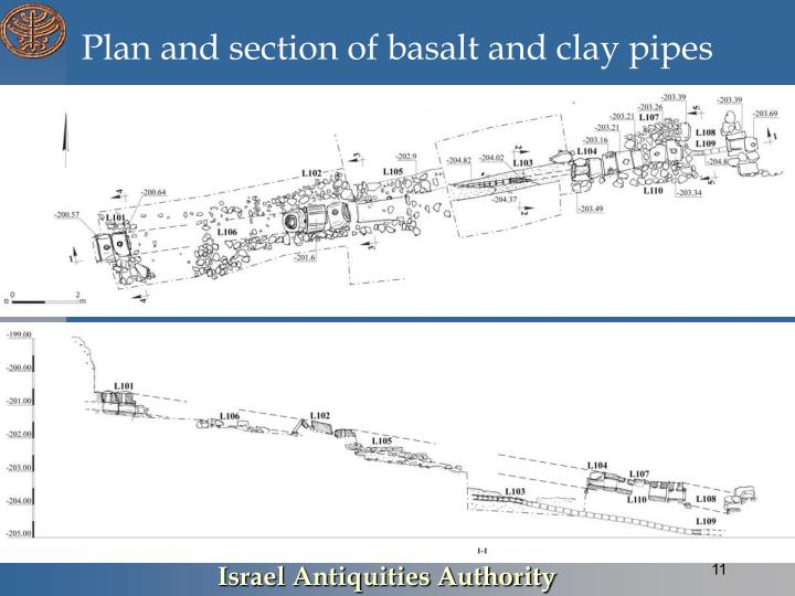 Plan and section of basalt and clay pipes