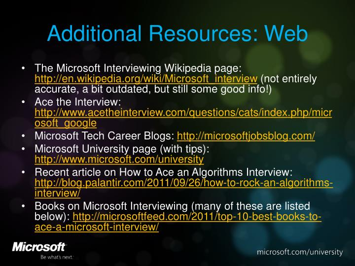 Additional Resources: Web