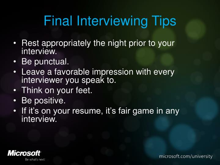 Final Interviewing Tips