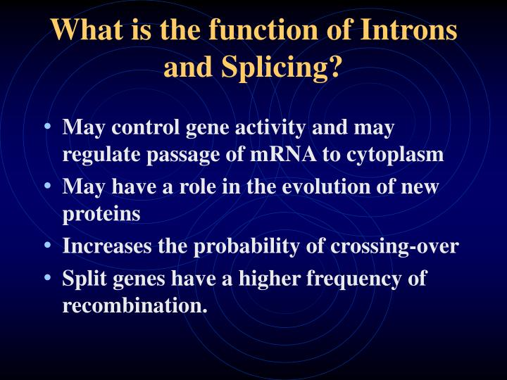 What is the function of Introns and Splicing?