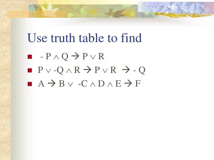 Use truth table to find