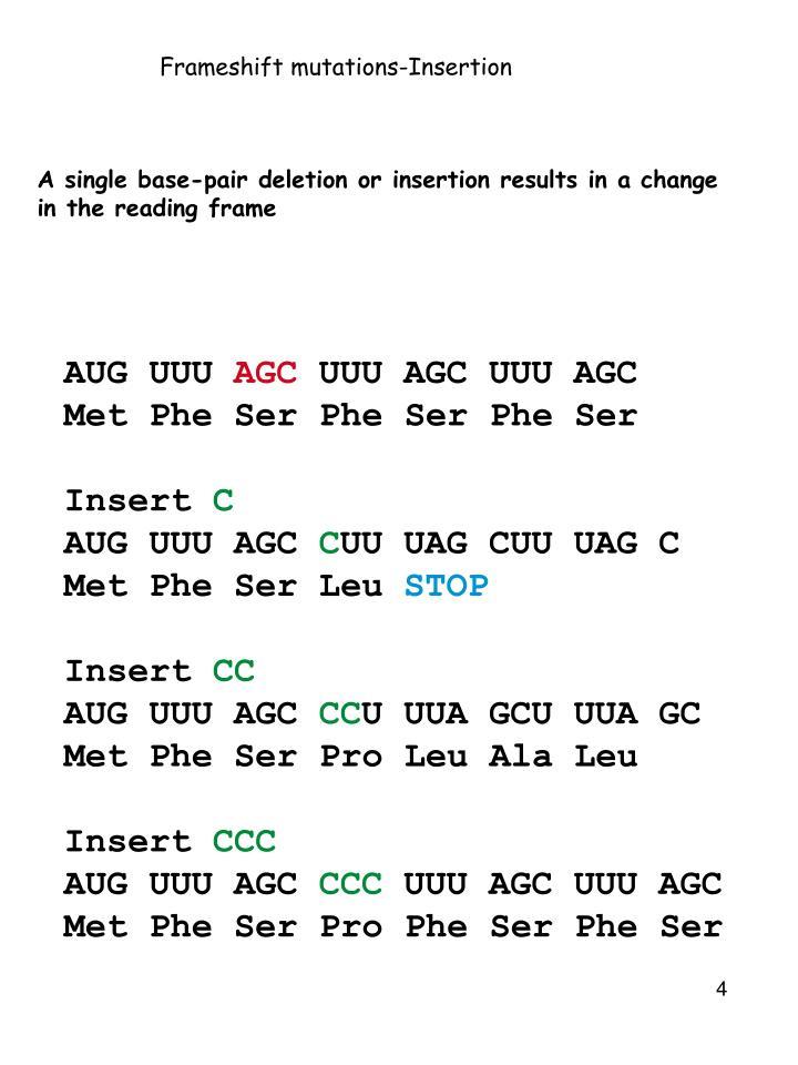 Frameshift mutations-Insertion