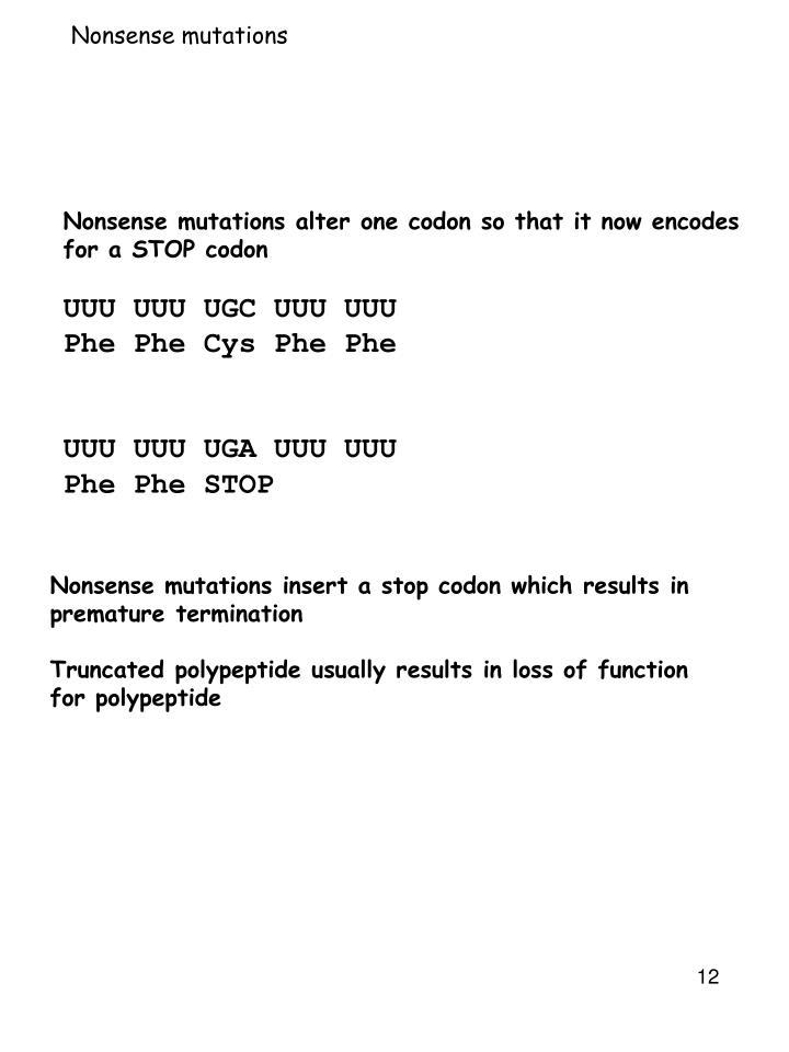 Nonsense mutations