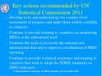 key actions recommended by un statistical commission 2011