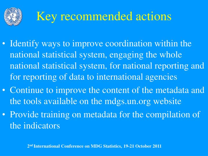 Key recommended actions