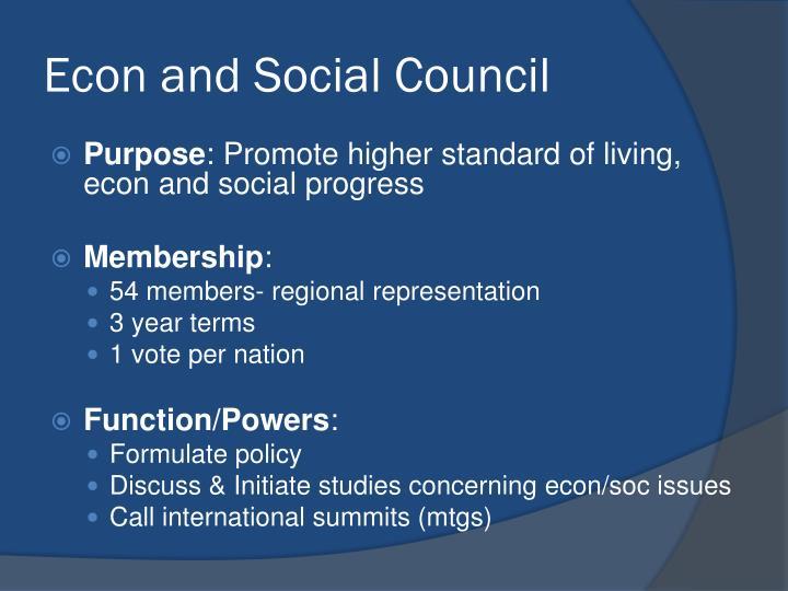 Econ and Social Council