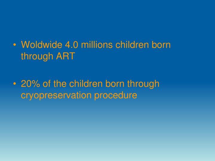 Woldwide 4.0 millions children born through ART