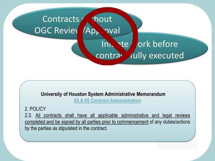 Contracts without OGC Review/Approval
