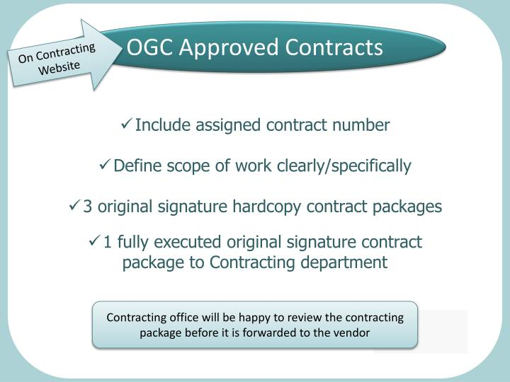 OGC Approved Contracts