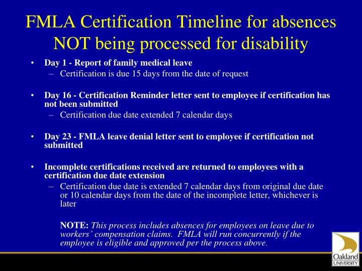 FMLA Certification Timeline for absences NOT being processed for disability