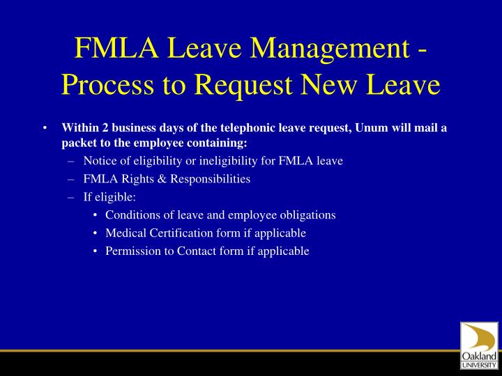 FMLA Leave Management - Process to Request New Leave