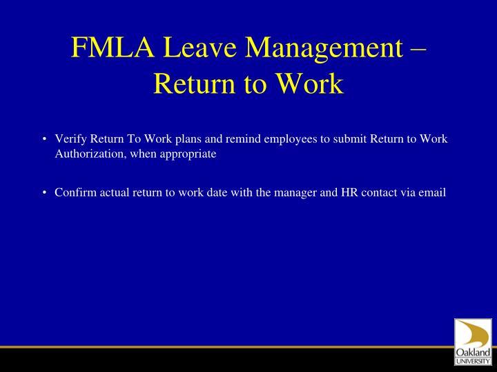 FMLA Leave Management – Return to Work