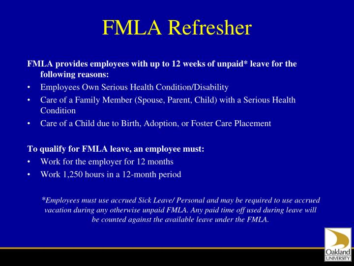 FMLA Refresher