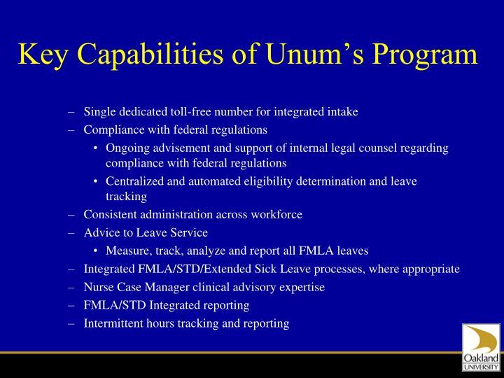 Key Capabilities of Unum's Program