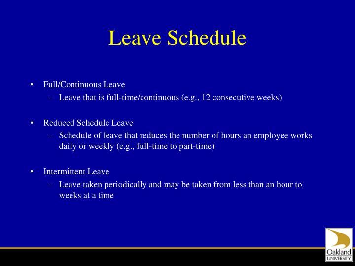 Leave Schedule