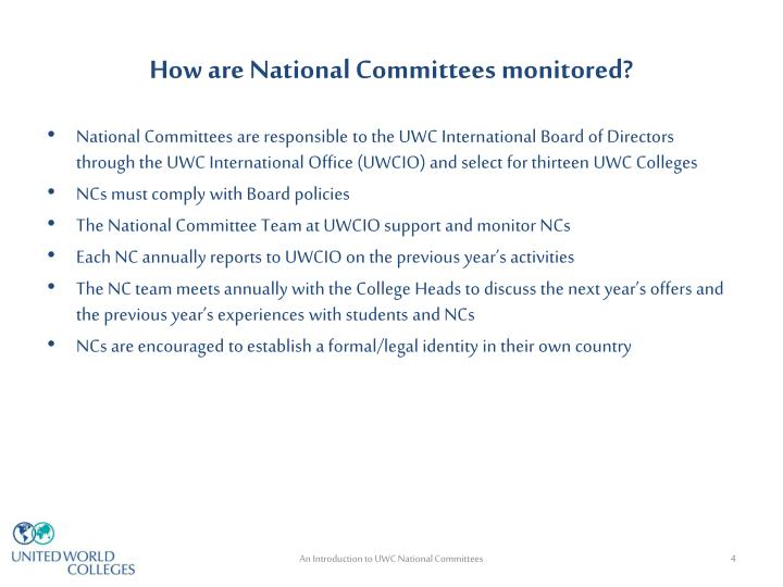 How are National Committees monitored?