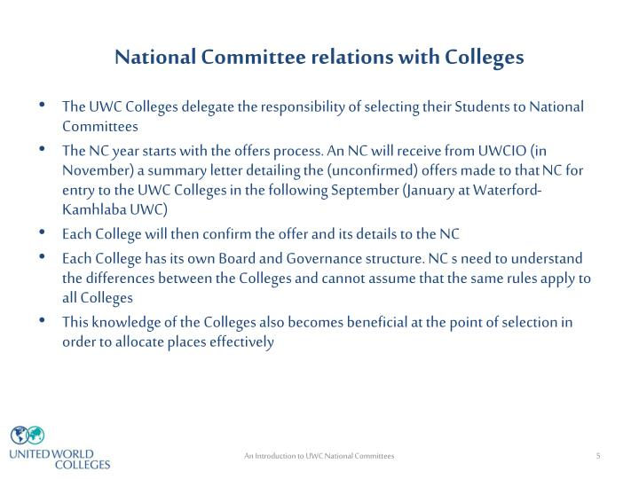 National Committee relations with Colleges