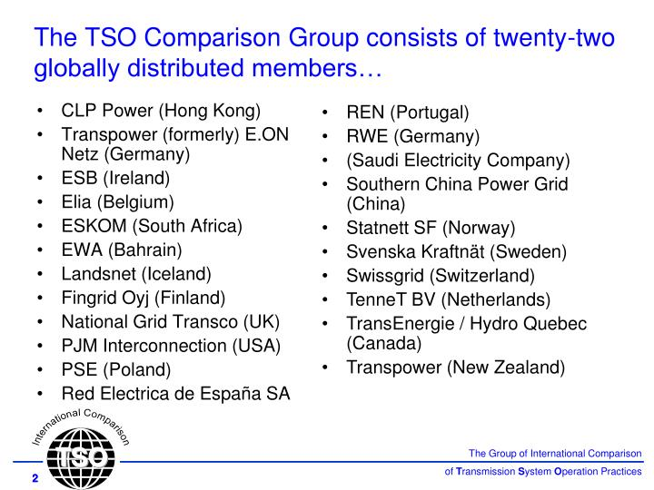 The TSO Comparison Group consists of twenty-two globally distributed members…