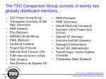 the tso comparison group consists of twenty two globally distributed members