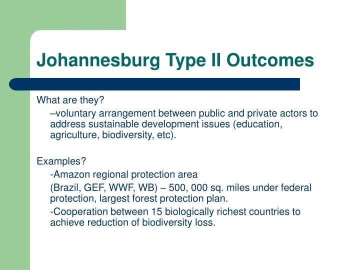 Johannesburg Type II Outcomes