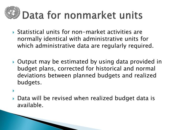 Data for nonmarket units