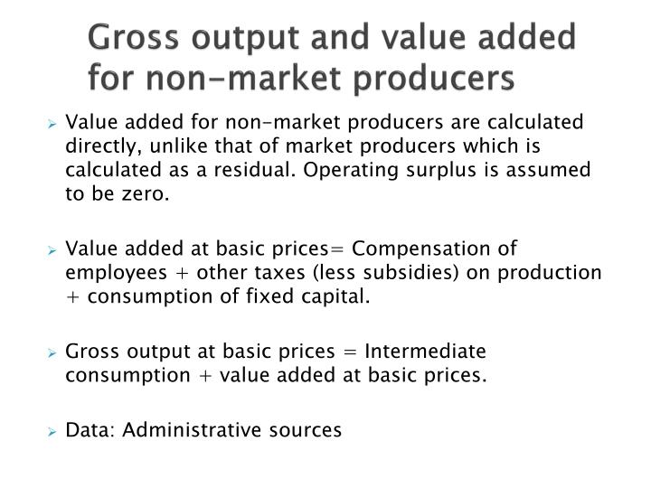 Gross output and value added for non-market producers