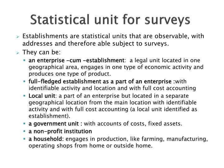 Statistical unit for surveys