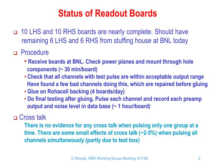 Status of Readout Boards