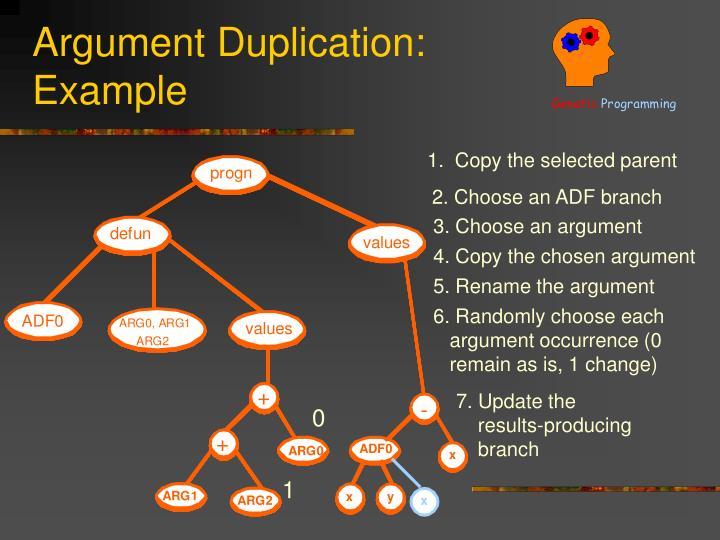 Argument Duplication: Example