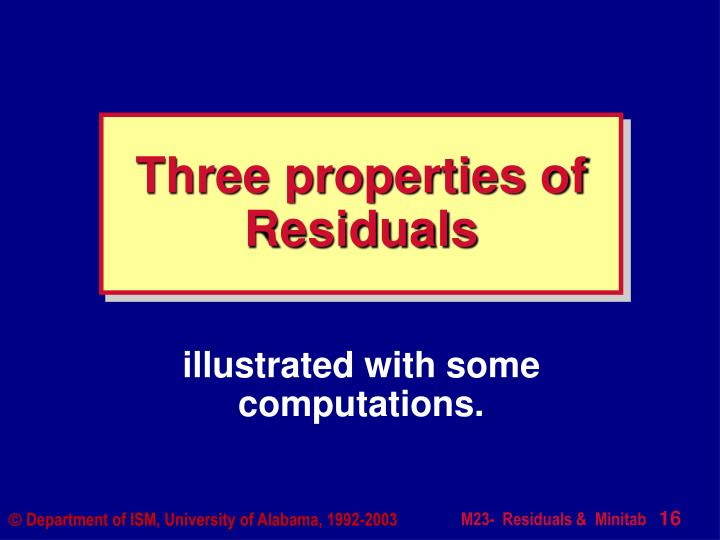 Three properties of