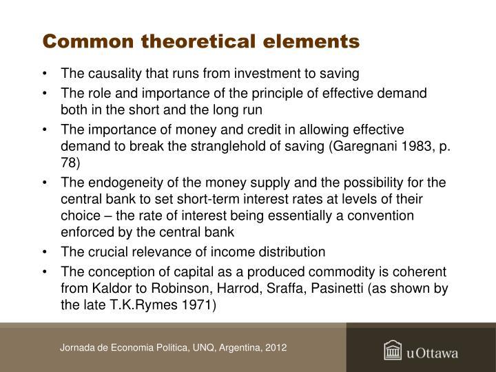 Common theoretical elements