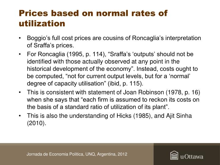 Prices based on normal rates of utilization