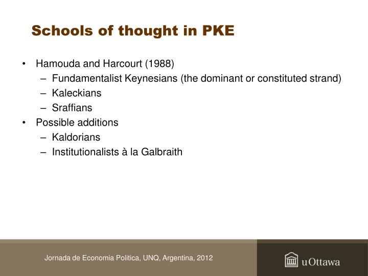 Schools of thought in PKE