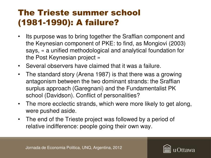 The Trieste summer school