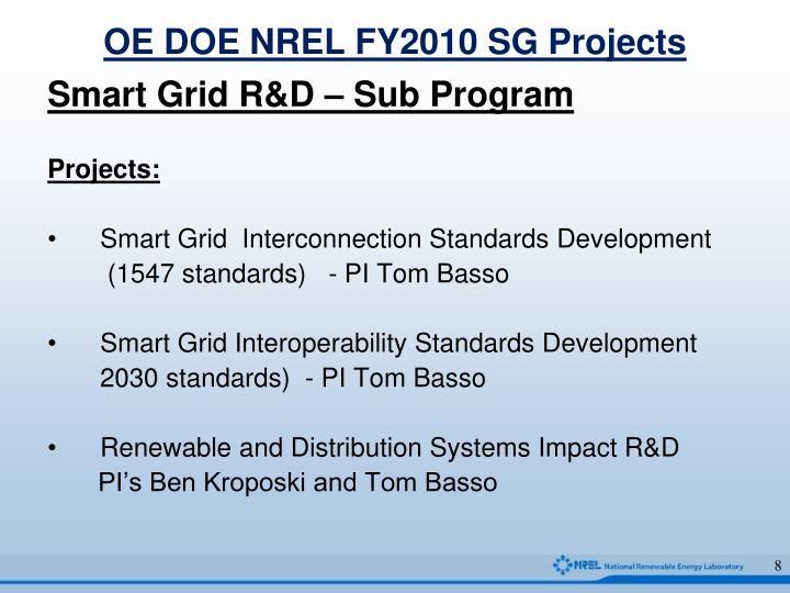 OE DOE NREL FY2010 SG Projects
