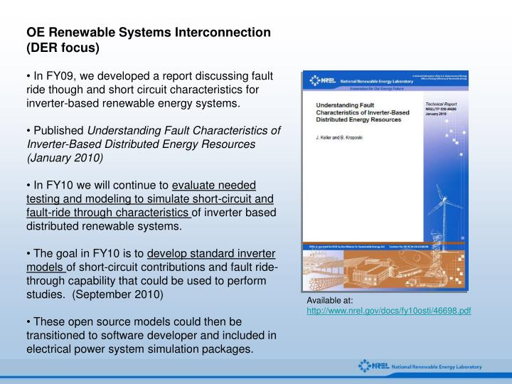 OE Renewable Systems Interconnection