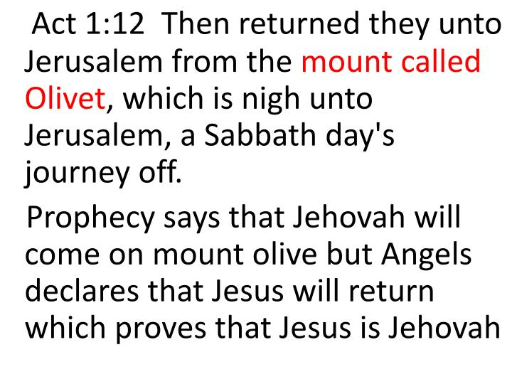 Act 1:12  Then returned they unto Jerusalem from the