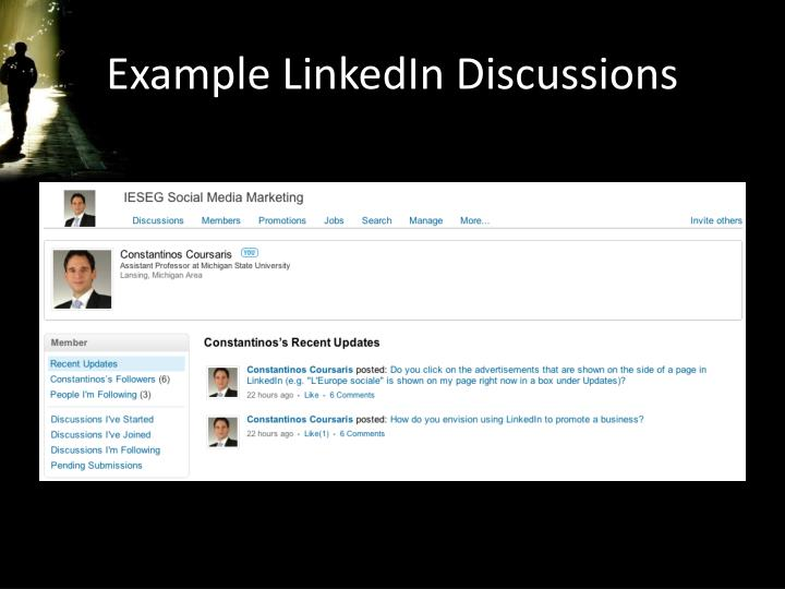 Example LinkedIn Discussions